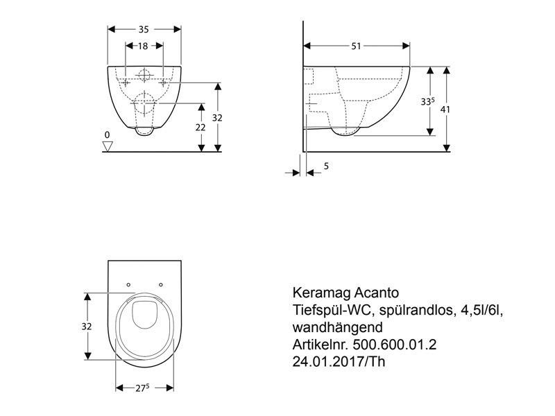 Fabulous Geberit Acanto Wand-Tiefspül-WC spülrandlos | BadDepot.de VH47