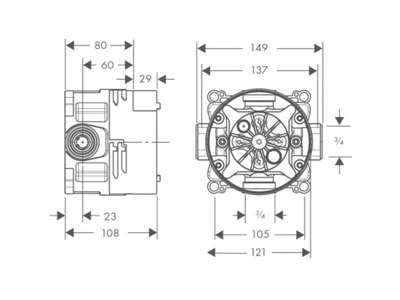 Favorit Hansgrohe Grundkörper ibox universal mit Vorabsperrrung   BadDepot.de ZH37