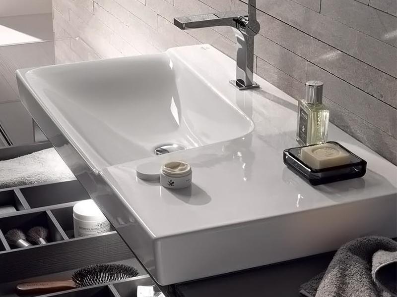 keramag xeno waschtisch mit ablagefl che. Black Bedroom Furniture Sets. Home Design Ideas