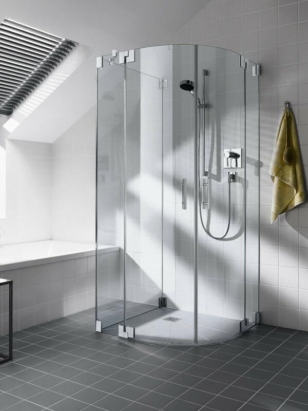 Dusche Pendelt?r Eckeinstieg : Kermi-Filia-Viertelkreis-Duschkabine-mit-Pendeltueren-und-Festteilen