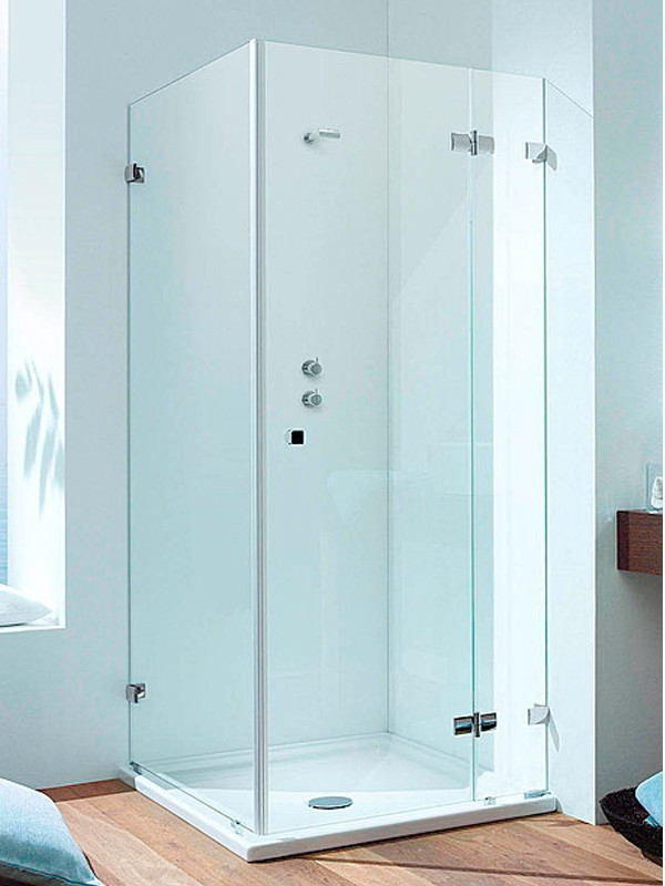 sprinz bs dusche rahmenlos eck duschkabine mit dreht r an festteil. Black Bedroom Furniture Sets. Home Design Ideas