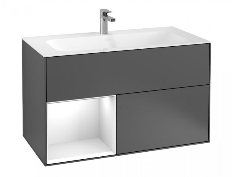 villeroy boch finion waschtischunterschrank mit ausz gen und regal. Black Bedroom Furniture Sets. Home Design Ideas