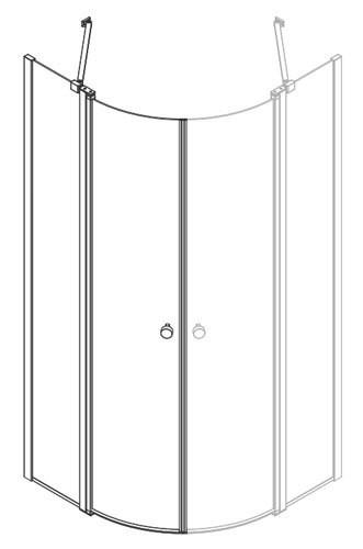 dansani match vierteilkreis duschkabine mit zwei t ren an festteil. Black Bedroom Furniture Sets. Home Design Ideas