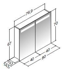 scanbad multo spiegelschrank led beleuchtung oben. Black Bedroom Furniture Sets. Home Design Ideas