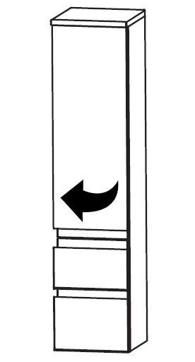 1 Tür - 2 Auszüge<br>Türanschlag links