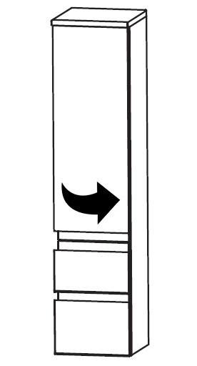 1 Tür - 2 Auszüge<br>Türanschlag rechts