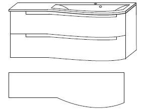 B x H x T: 1212 mm x 505 mm x 517 mm<br>Ablagefläche links