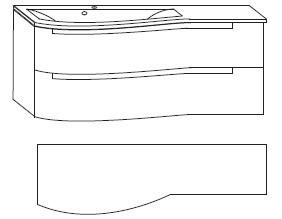 B x H x T: 1212 mm x 505 mm x 517 mm<br>Ablagefläche rechts