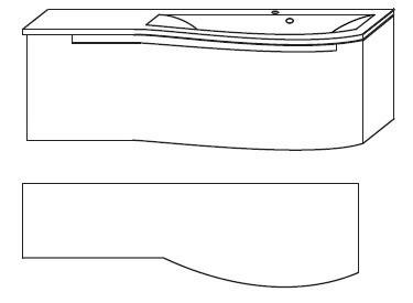 B x H x T: 1212 x 345 x 517 mm<br>Ablagefläche links