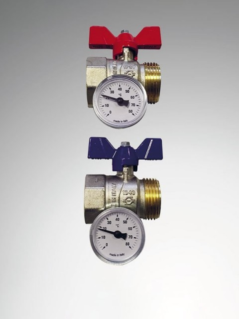 Purmo TempCo Kugelventilset mit Thermometer