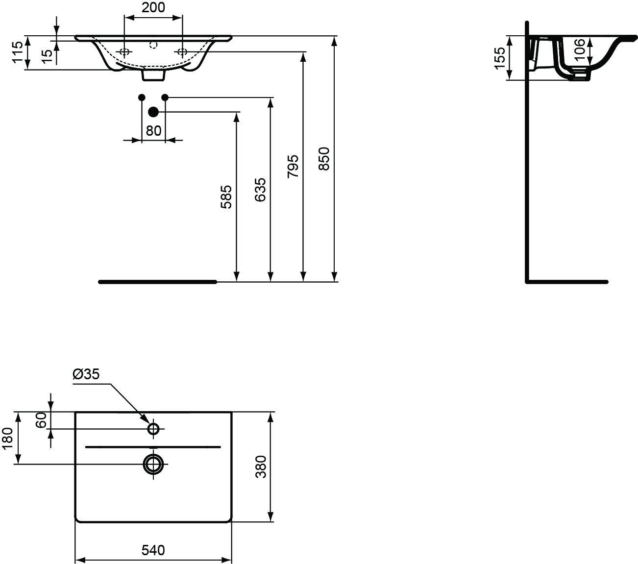 ideal standard connect air m belwaschtisch. Black Bedroom Furniture Sets. Home Design Ideas