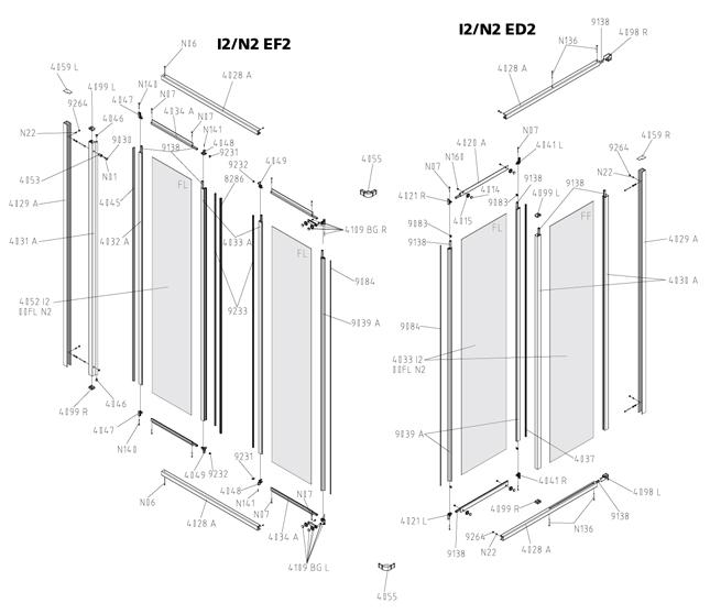 kermi ibiza 2000 eckeinstieg 2 teilig faltt r gleitt r ersatzteile duschkabine g nstig. Black Bedroom Furniture Sets. Home Design Ideas